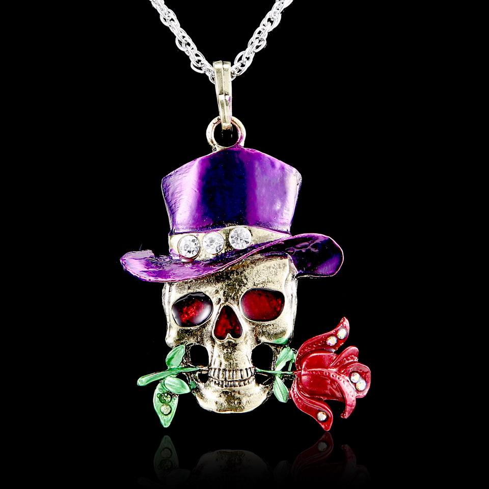 Retro Skull Head Rose Flower Pendant Necklace