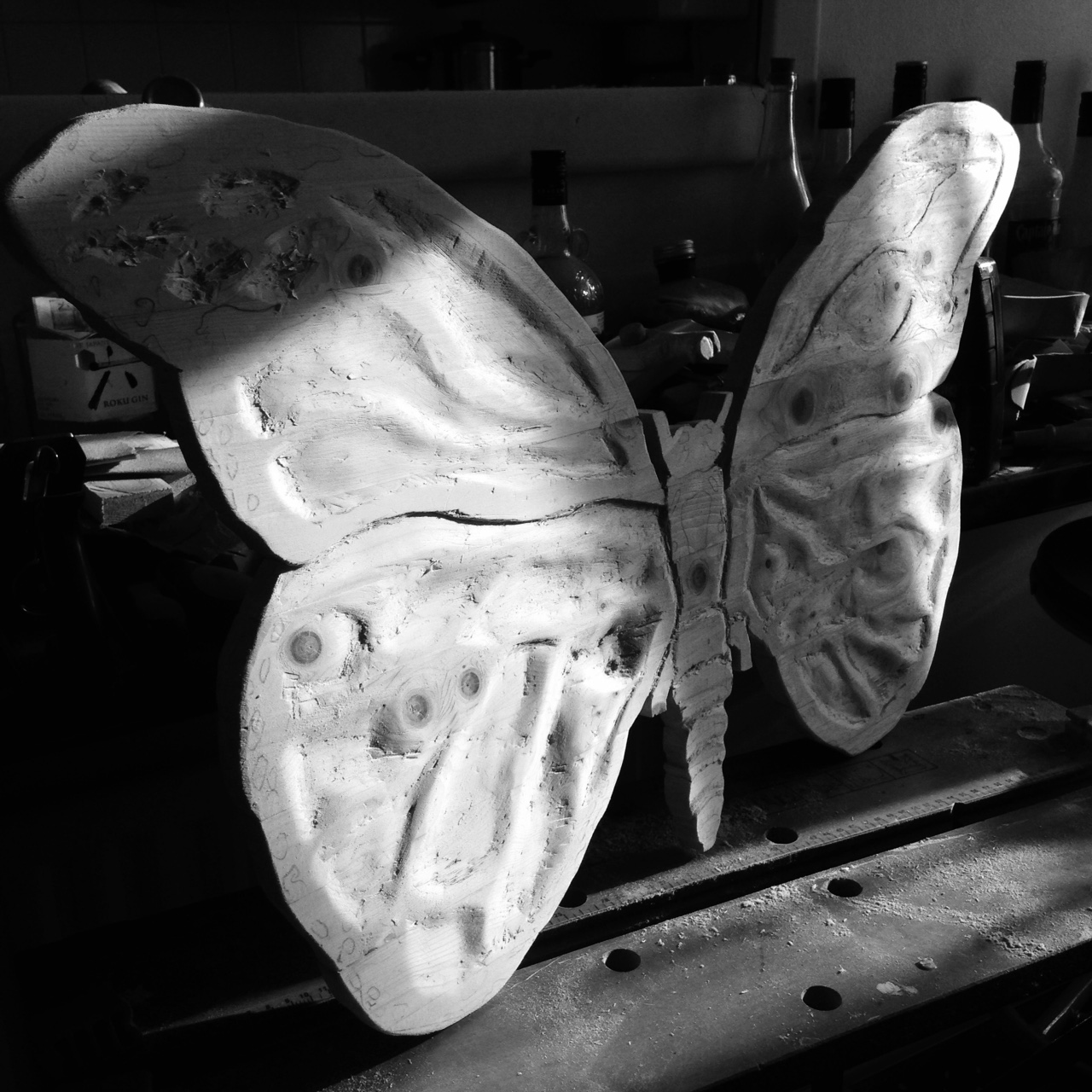 Monarch Butterfly Wooden Sculpture