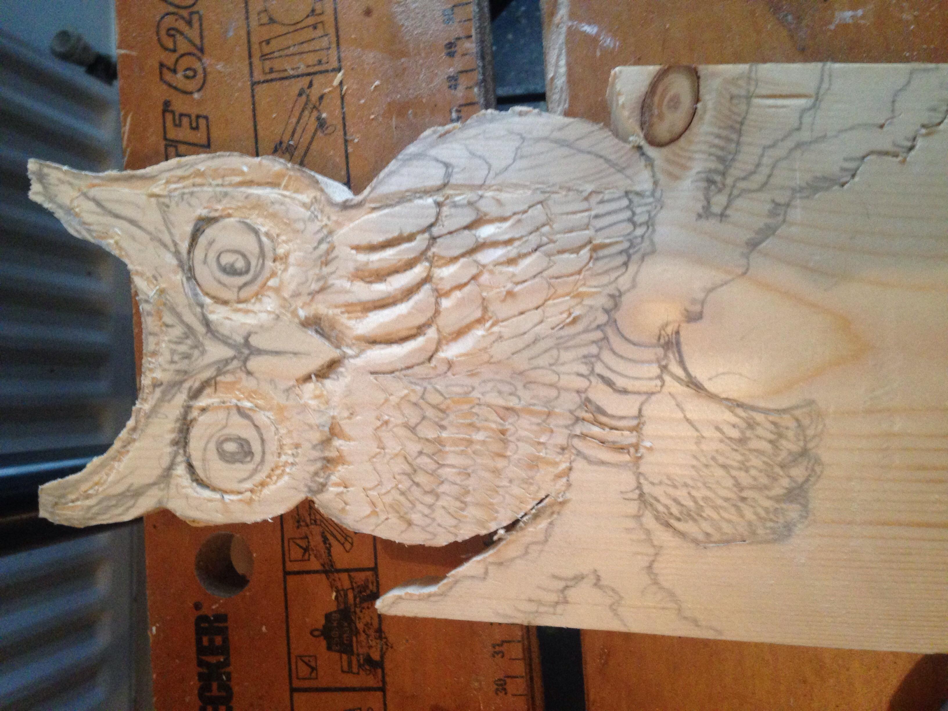Garden Owl Sculpture Wood Carving