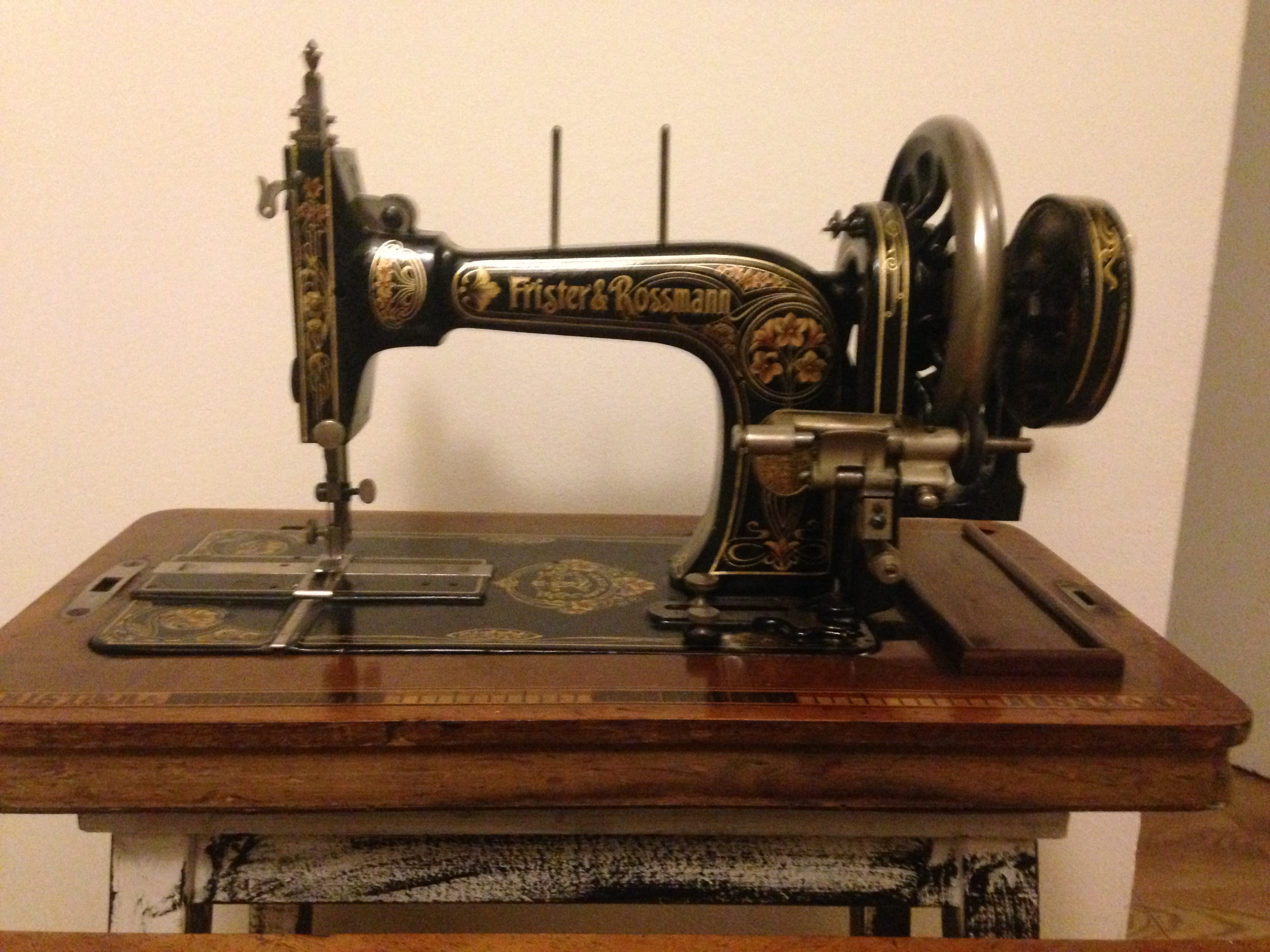 Antique Frister and Rossmann Hand Crank Sewing Machine For Sale