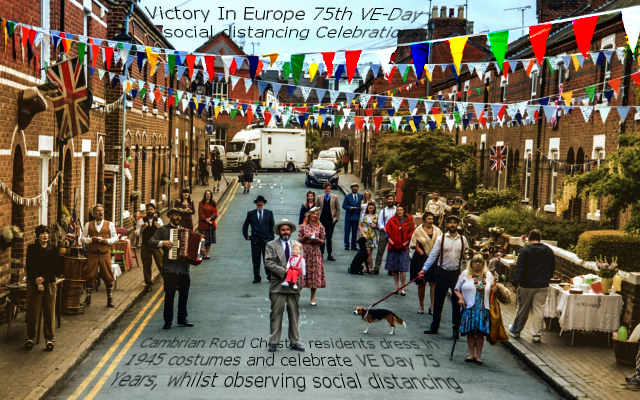 Cambrian Road Chester, residents dress in in 1945 costumes and observe social distancing to celebrate VE Day 75 Years on.<br />