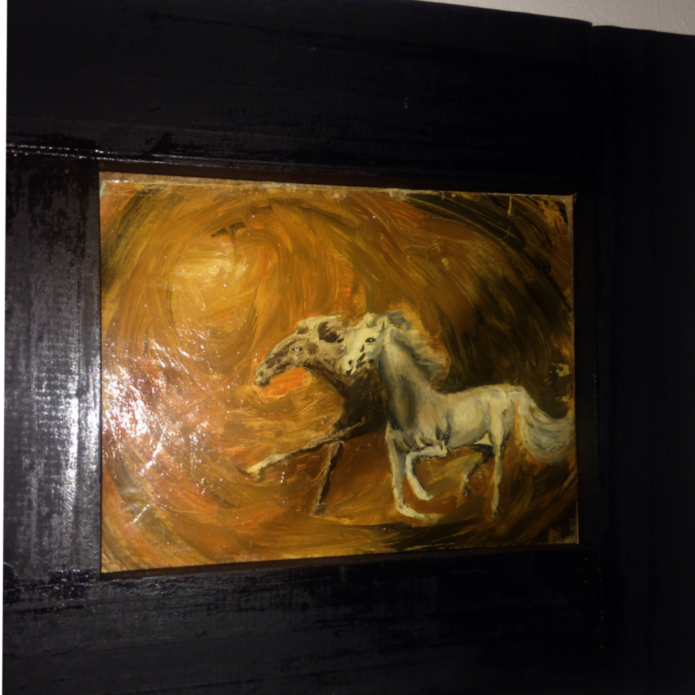 This oil painting of wild fantasy horses was painted in the 1980s as a practice piece. It has survived over the years being stored away mostly and now takes its rightful place framed and hanging on display for others to enjoy.