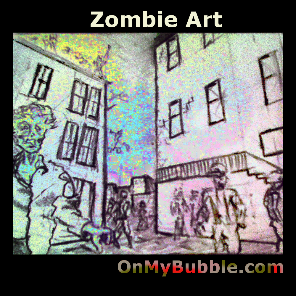 Zombie City is a drawing study for a comic page using mathematical perspective to accurately reflect the size of the zombie characters in the drawing relative to each other and to the buildings. We offer the licence to use the image in comics on a royalty fee basis.