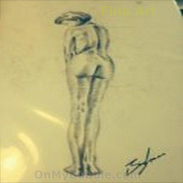 Demure Lady Nude Pencil Sketch