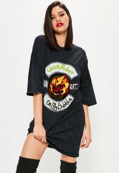 Girl in a Ghost Rider T-Shirt