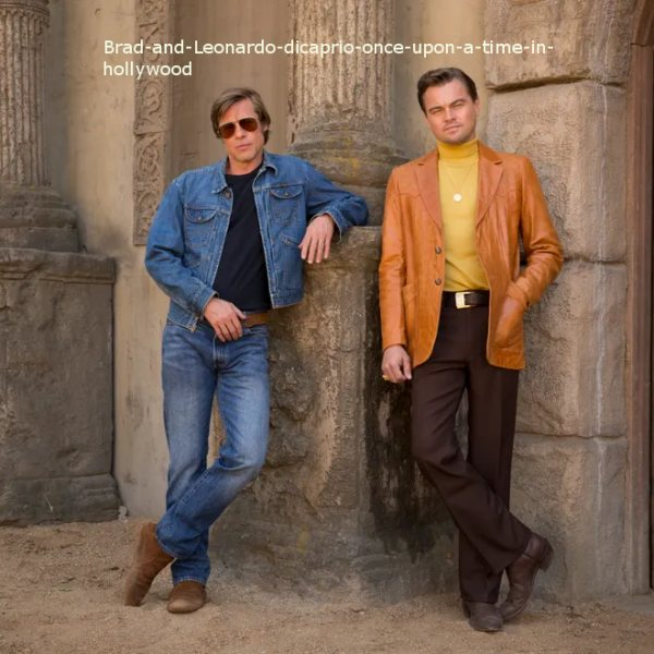 Brad Pitt and Leonardo Di Caprio Once Upon A Time In Hollywood Denim V Leather