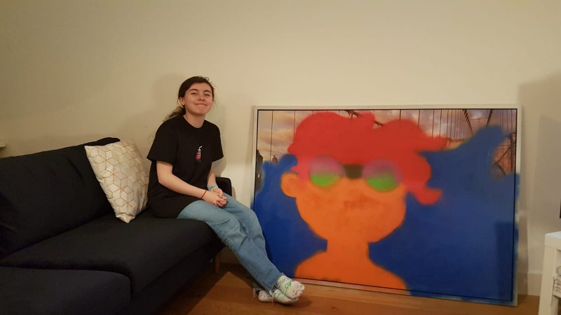 Girl with her painting