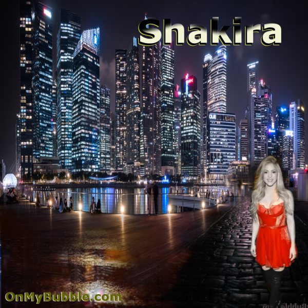 Shakira City Night On Cobbled Street Poster