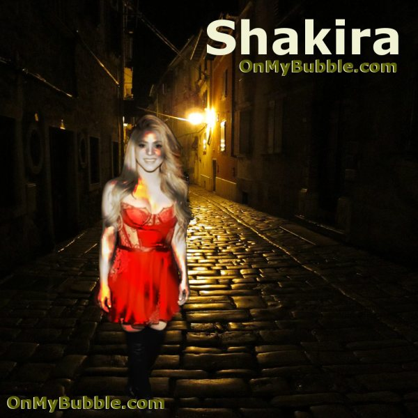 Shakira Night Cobbled Street Poster