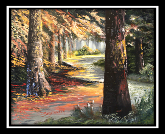 Autumn Forest Path Oil Painting