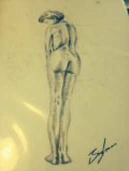 Demure Lady Nude Sketch On Paper