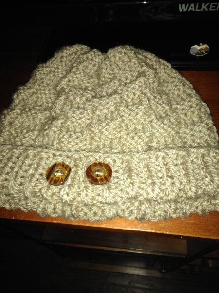 Aran wool beanie